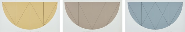 1/2 Manila Curved Area Series W; 1/2 Brown Curved Area Series V; and 1/2 Gray Curved Area Series X