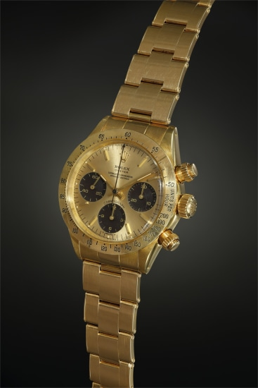 A very rare yellow gold chronograph wristwatch with early chronometer dial configuration displaying 'floating graphics' and mocha 'tropical' subsidiary registers