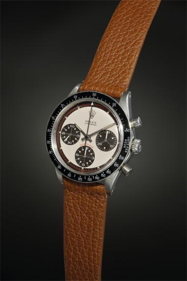 An exceptionally well-preserved and rare stainless steel chronograph with Paul Newman dial, mocha 'tropical' subsidiary registers and tachymeter bezel