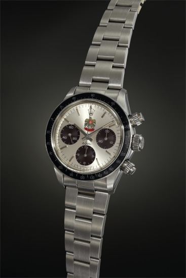 An exceptionally rare stainless steel chronograph wristwatch with UAE Quraysh Hawk dial and cocoa registers, made for Mohammed bin Rashid Al Maktoum