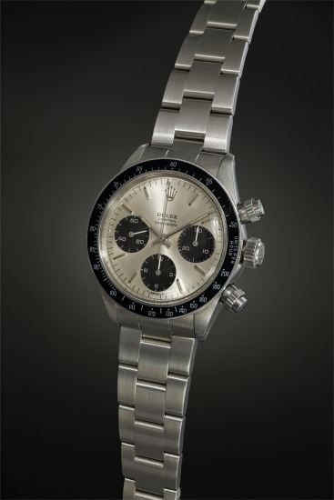 An exceptionally well-preserved stainless steel chronograph wristwatch with silvered dial, guarantee and presentation box, made for the Peruvian Air Force