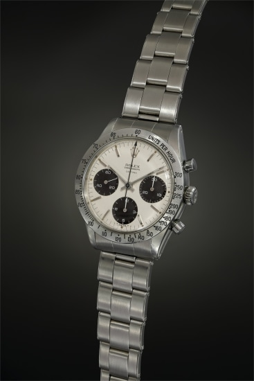A highly rare and early stainless steel chronograph wristwatch, presumably among the first to bear the 'Daytona' designation, with white grené dial displaying double ' –T Swiss T–' inscription, and brushed bezel