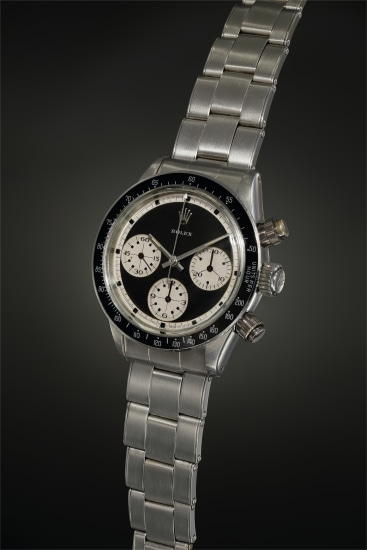 A highly interesting and historically important stainless steel chronograph wristwatch with most probably unique black and white 'pre-Paul Newman' style dial, featuring oversized registers and black outer seconds marks on white track
