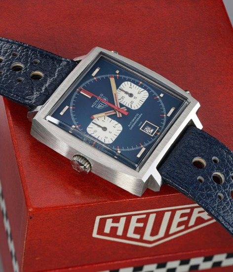 A very fine and rare square shaped stainless steel chronograph wristwatch with date aperture located at 6 o'clock and box