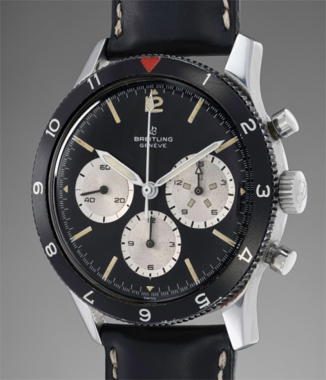 A very attractive and rare stainless steel chronograph wristwatch with black dial and oversized 15-minute register