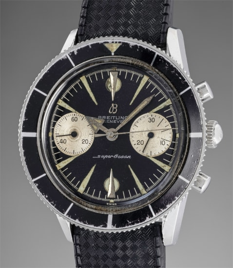 A very attractive stainless steel diver's chronograph wristwatch with Art Deco indexes and revolving bezel