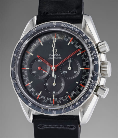 "An attractive and rare stainless steel chronograph wristwatch with black ""racing"" dial, tachymeter, bracelet and International Guarantee, signed by retailer M. Galli & Sohn, Zürich"