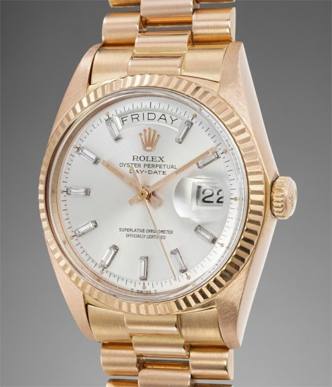 A very fine, rare and attractive pink gold and diamond-set calendar wristwatch with center seconds and bracelet