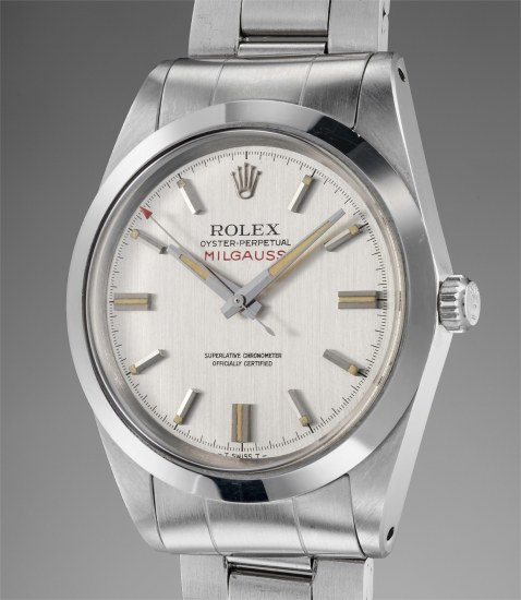 A rare and attractive stainless steel antimagnetic wristwatch with bracelet, guarantee, additional dial and hands