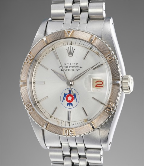 An extremely rare and attractive stainless steel wristwatch with white gold revolving bezel and United States Air Force Thunderbirds emblem