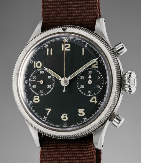 A very rare and attractive stainless steel military chronograph wristwatch with black dial