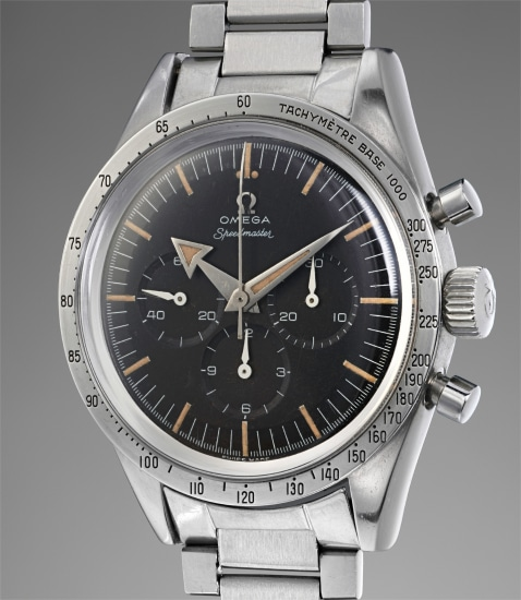 A fine, early, very rare and highly important stainless steel chronograph with bracelet
