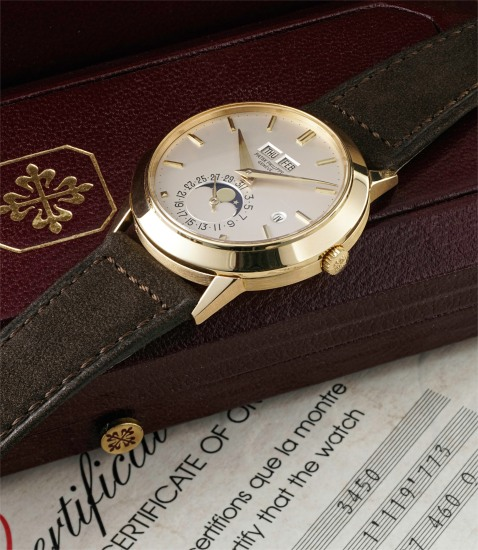 A rare and attractive yellow gold perpetual calendar wristwatch with moonphases, leap year indicator, original certificate and fitted presentation box