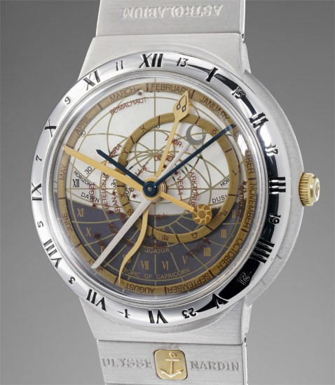 A very fine and extremely unusual white and yellow gold automatic astronomical wristwatch with bracelet