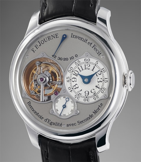 A very fine and rare platinum tourbillon wristwatch with constant force remontoir, power reserve and dead beat seconds