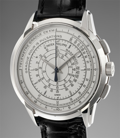 A fine and attractive limited edition white gold chronograph wristwatch with multi-scale dial