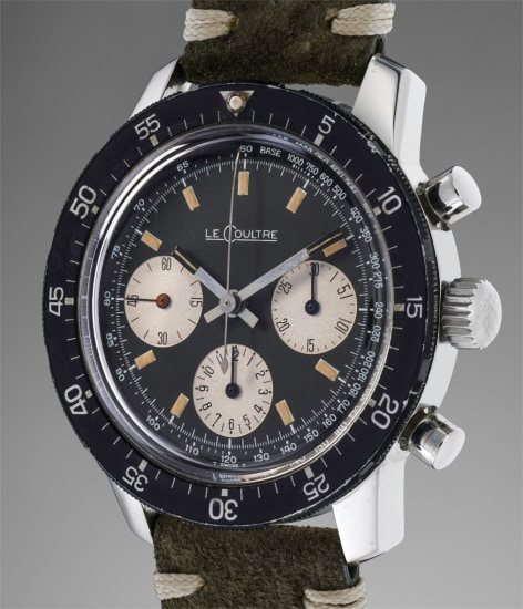 A rare and attractive chronograph wristwatch with additional worldtime and telemeter bezels and presentation box