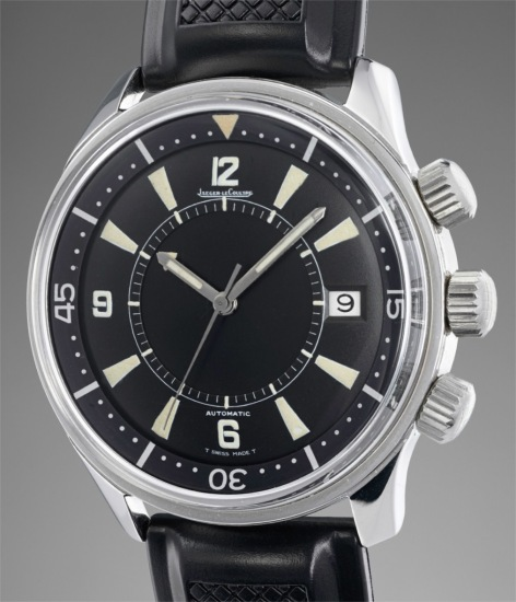 A fine and very rare stainless steel diver's wristwatch with center seconds, date and alarm