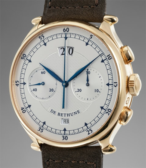 A very rare and attractive pink gold chronograph wristwatch with big date and month indication