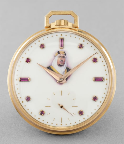A fine and very rare pink gold open face pocketwatch with polychrome enamel dial made in celebration of King Saud bin Abdulaziz Al Saud