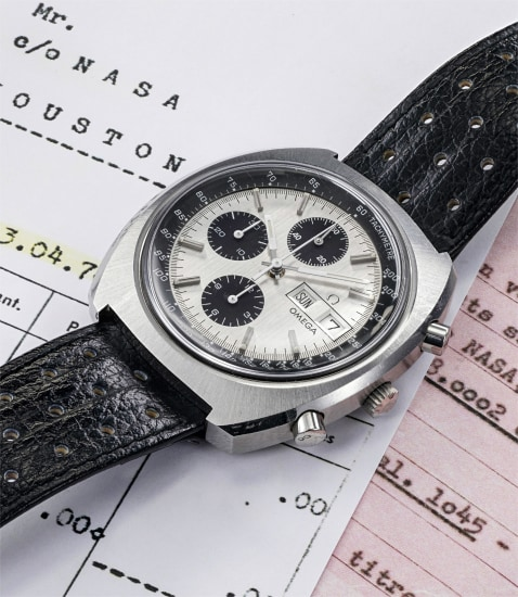 An extremely rare and historically interesting stainless steel electromechanical prototype  chronograph wristwatch with day and date, delivered to NASA in 1978