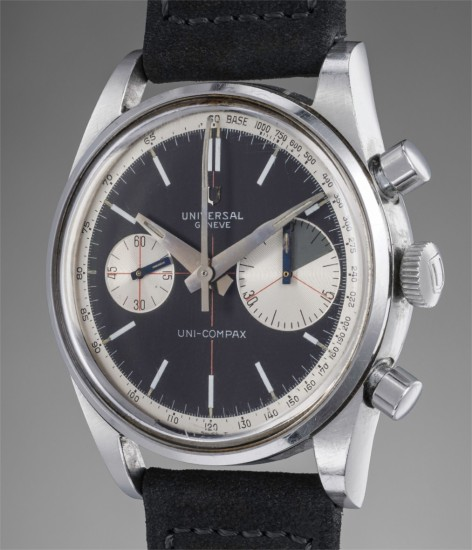A very rare and highly attractive stainless steel chronograph wristwatch with black dial, tachymeter scale, and enlarged 45-minute register