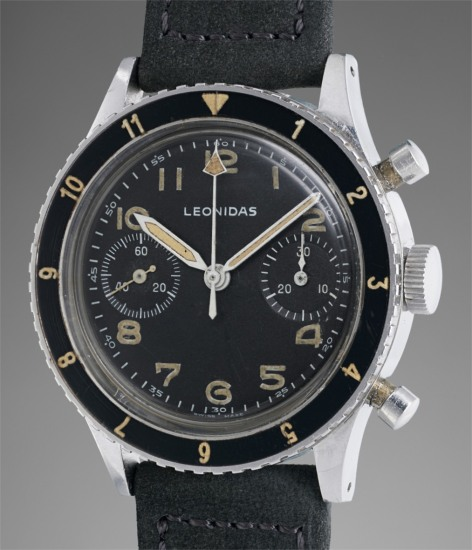 A very rare stainless steel chronograph wristwatch with matte black dial, rotating bezel and luminous Arabic hour markers, made for the Italian Navy