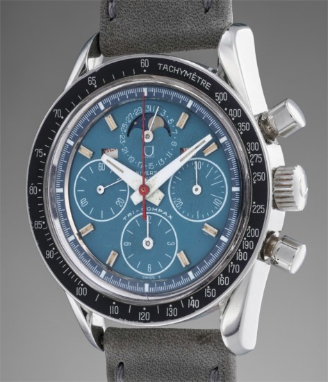 "A very attractive and rare stainless steel triple calendar wristwatch with ""acqua"" blue colored dial, moonphases and tachymeter scale"