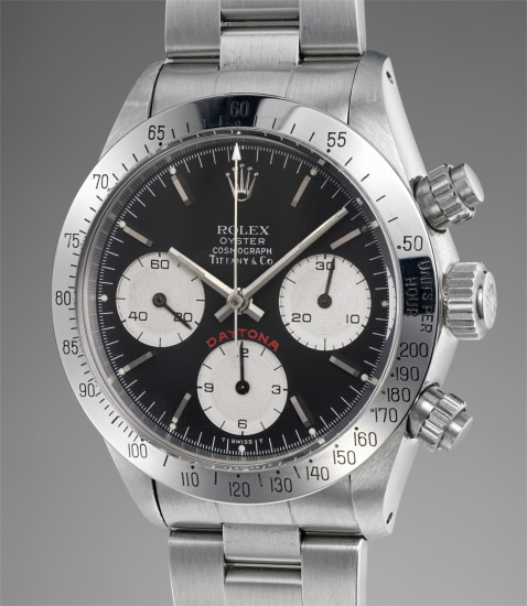 A rare and very well preserved stainless steel chronograph wristwatch with black dial and bracelet, retailed by Tiffany & Co.