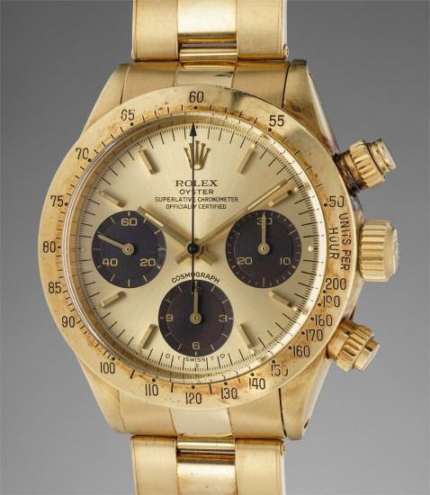 "A highly rare and incredibly attractive yellow gold chronograph wristwatch with chocolate ""tropical"" registers and bracelet, made for the Sultanate of Oman"