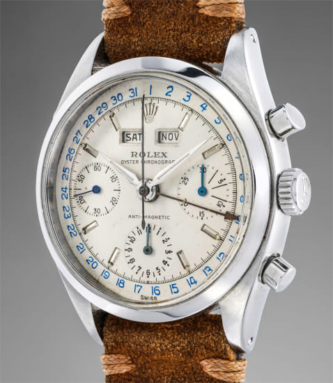 A very fine and rare stainless steel triple calendar chronograph wristwatch