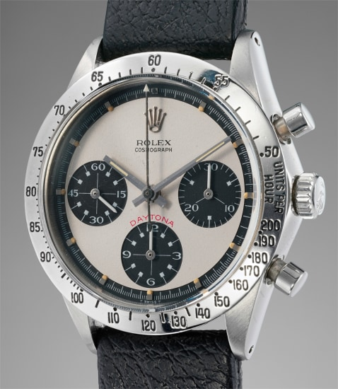 """A highly rare and most attractive stainless steel chronograph wristwatch with """"Paul Newman"""" dial"""