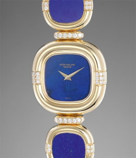 A lady's fine and rare yellow gold, diamond and lapis lazuli-set bracelet watch with matching earrings and ring