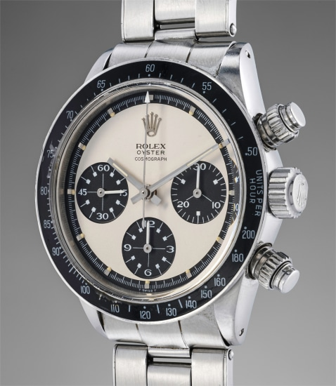 """A fine, extremely rare and very attractive stainless steel chronograph wristwatch with Mark 1 """"Paul Newman"""" dial and bracelet"""