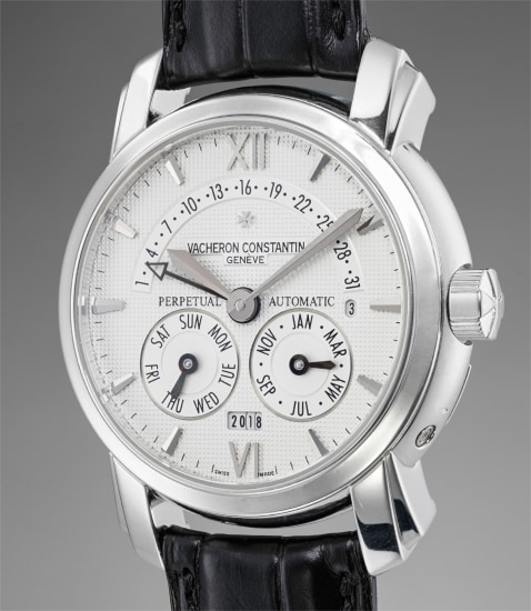 A rare and very fine platinum perpetual calendar wristwatch with retrograde date, leap year cycle indication, digital year indication and Certificate