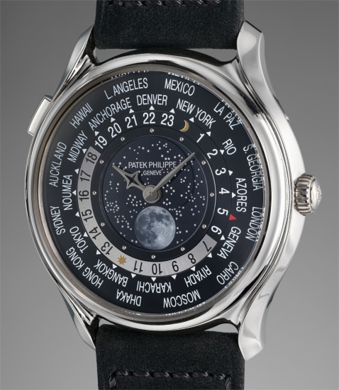 A rare and attractive white gold limited edition worldtime wristwatch with moonphases, anniversary medal and box, certificate and product literature