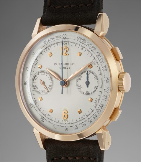 "A rare and very attractive pink gold chronograph wristwatch with ""spider lugs"" and original Certificate"