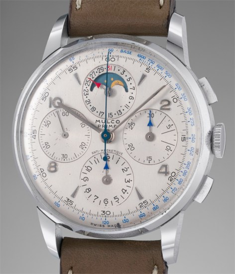 A rare and incredibly well-preserved stainless steel chronograph wristwatch with date and moonphases