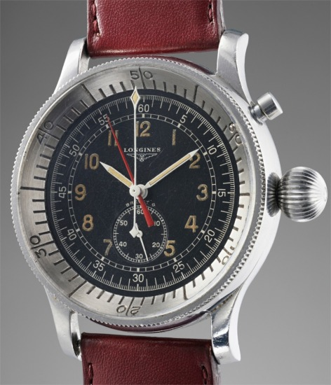 A rare and attractive stainless steel oversized pilot's flyback chronograph wristwatch with central registers