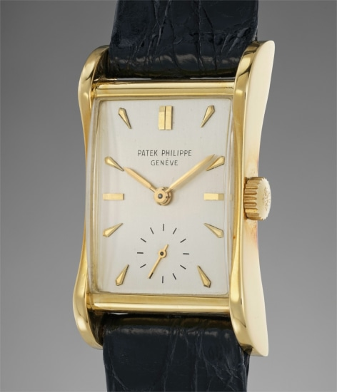 A very fine and attractive rectangular-shaped yellow gold wristwatch