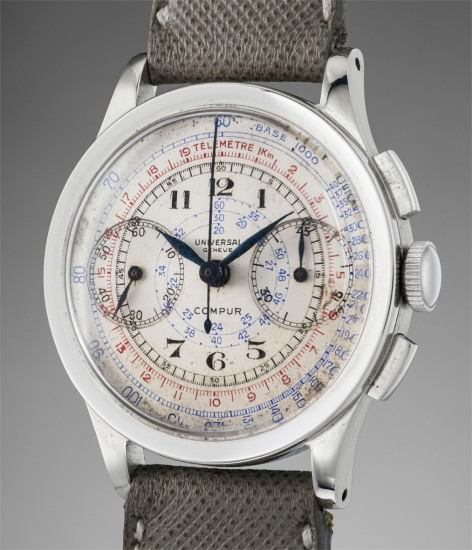 A fine stainless steel multi-scale chronograph wristwatch