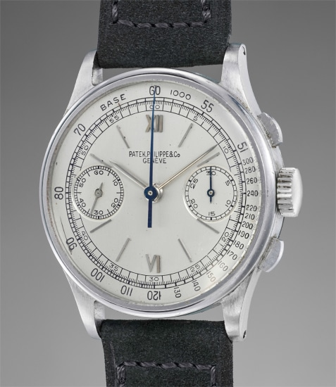 An extremely fine, rare and attractive stainless steel chronograph wristwatch
