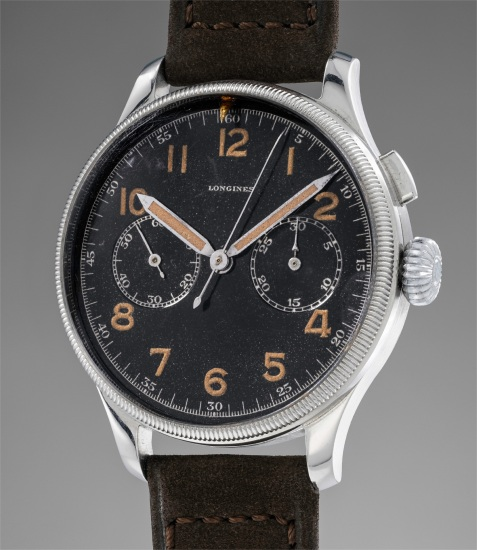 A highly attractive and rare stainless steel pilot's single button chronograph wristwatch with black dial, Arabic numerals and revolving bezel, made for Romanian military pilot Sireteanu Alexandri