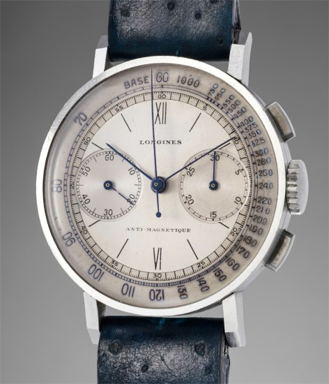 A rare and attractive stainless steel antimagnetic flyback chronograph wristwatch with angled lugs