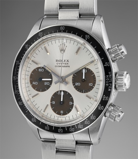 """A fine and very rare stainless steel chronograph wristwatch with dark chocolate """"tropical"""" brown registers and bracelet, made for the Peruvian Air Force"""
