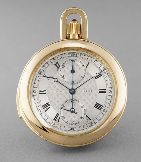 A rare and attractive yellow gold minute repeating chronograph open faced pocketwatch