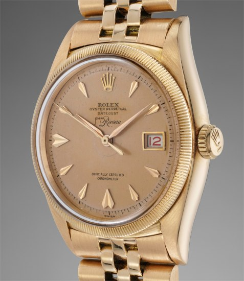 A rare and attractive pink gold wristwatch with roulette date and bracelet, retailed by Joyeria Riviera