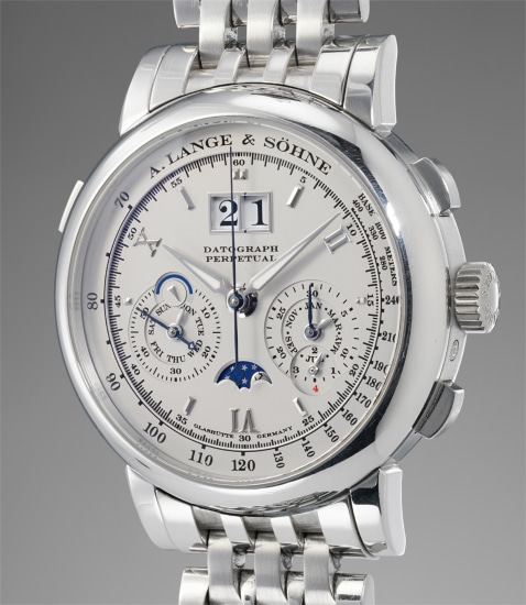 A highly attractive and rare platinum perpetual calendar flyback chronograph wristwatch with leap year indicator, power reserve, moonphases, and platinum bracelet
