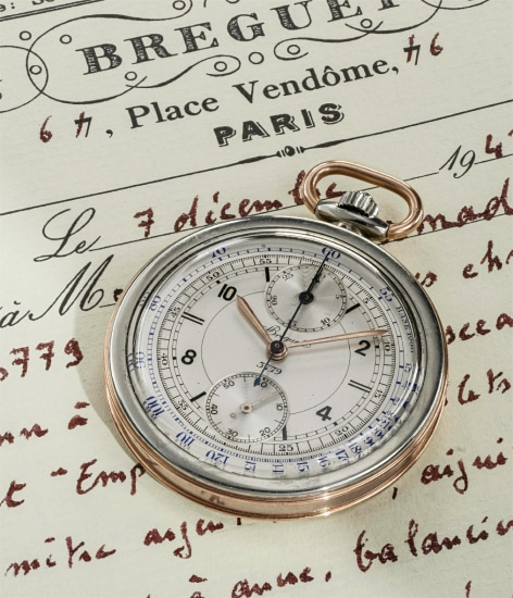 A fine and rare white and pink gold pocketwatch chronograph