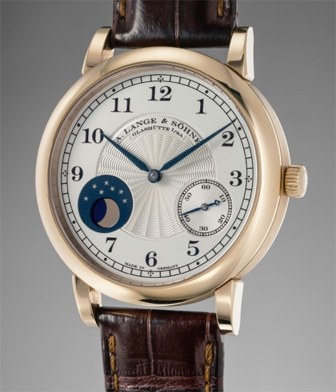 A fine and rare limited edition honey gold wristwatch with moonphases, made to commemorate the 165th anniversary of A. Lange & Söhne in 2010